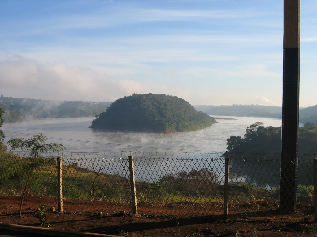 Early morning of the 8th of July, 2011. Image of an island at Parana river, taken when we were crossing the Amizade bridge.  Countries border between Brazil and Paraguay.