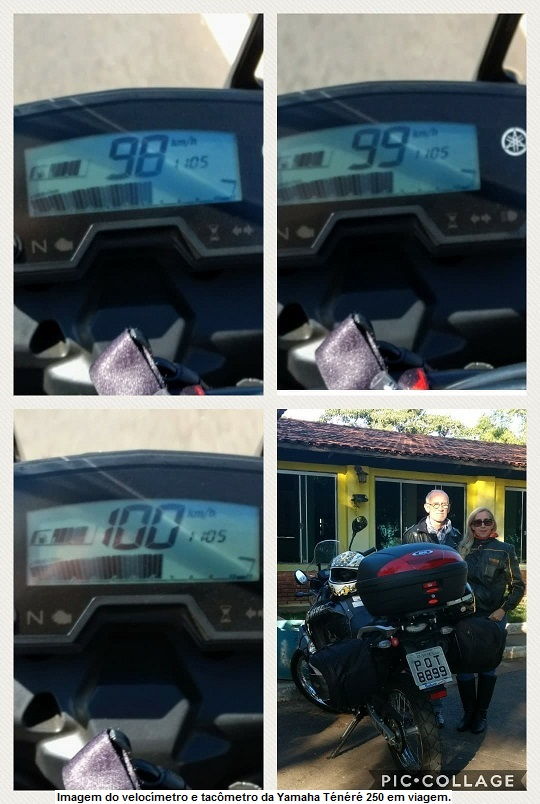Imageof the speedometer and tachometer of the Yamaha Ténéré 250 on road.