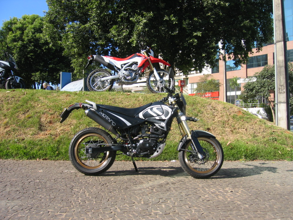 My Sundown STX Motard on the 11th of May, 2013, its odometer is now clocking nearly 50.000 km, and the Honda CRF 250L.