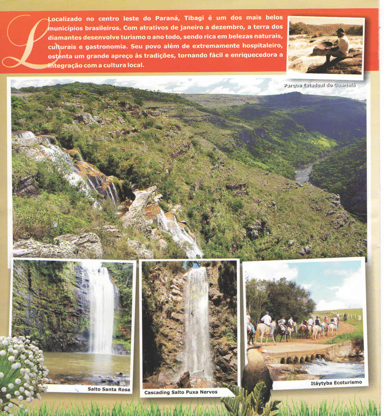 Official folder of the city of Tibagi showing the State Park of Guartelá and its attractions.