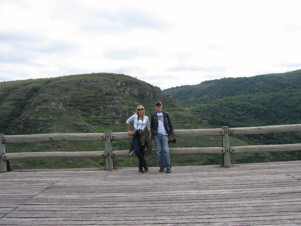 Me and Theresa posing for this photo at the wooden lookout.